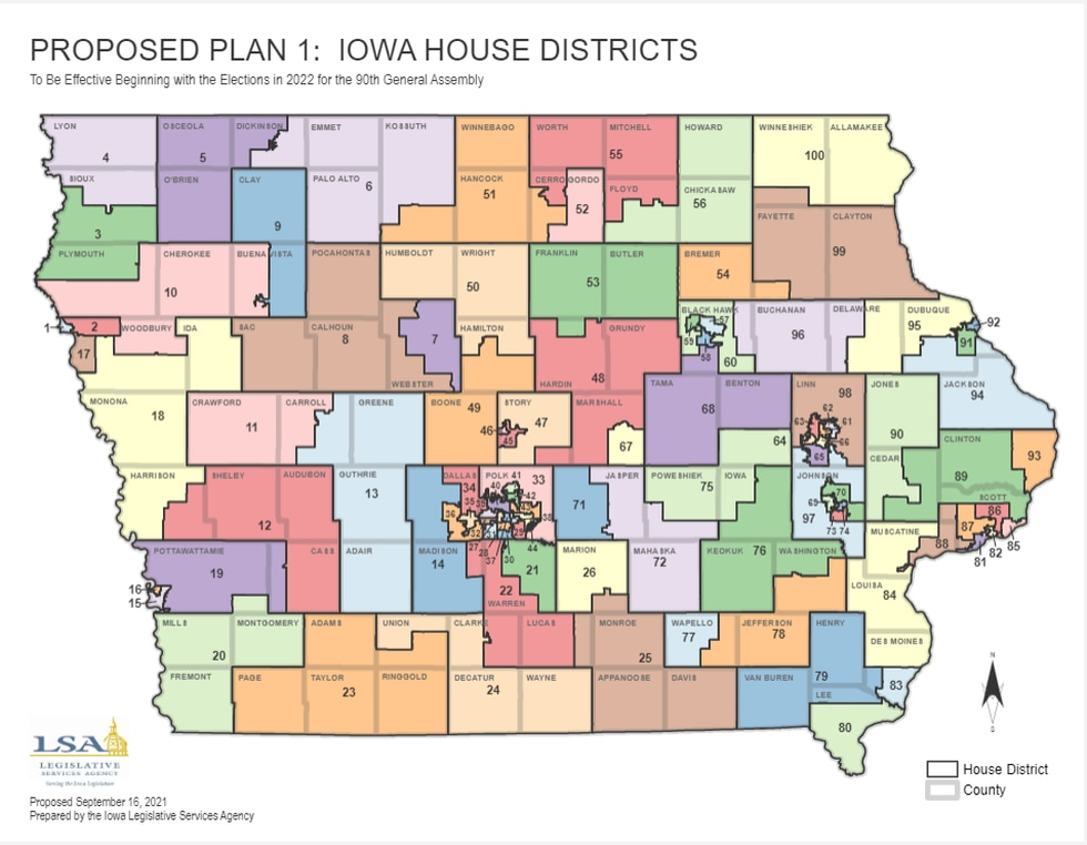 Proposed Iowa House redistricting map