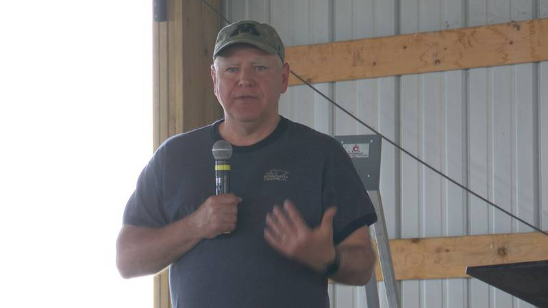 Gov. Tim Walz speaks at Minnesota Farmfest Wednesday, Aug. 4, 2021, in Morgan, Minn.