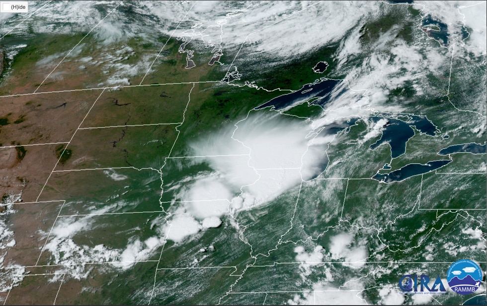 What the derecho event looked like on satellite around 3:00 PM, Monday August 10th, 2020.