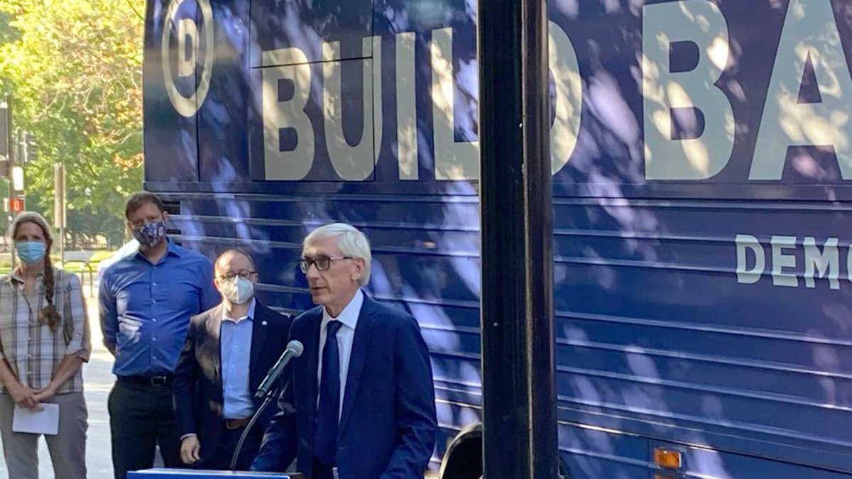 Democratic Gov. Tony Evers speaks during a news conference Monday, Aug. 30, 2021 during a...