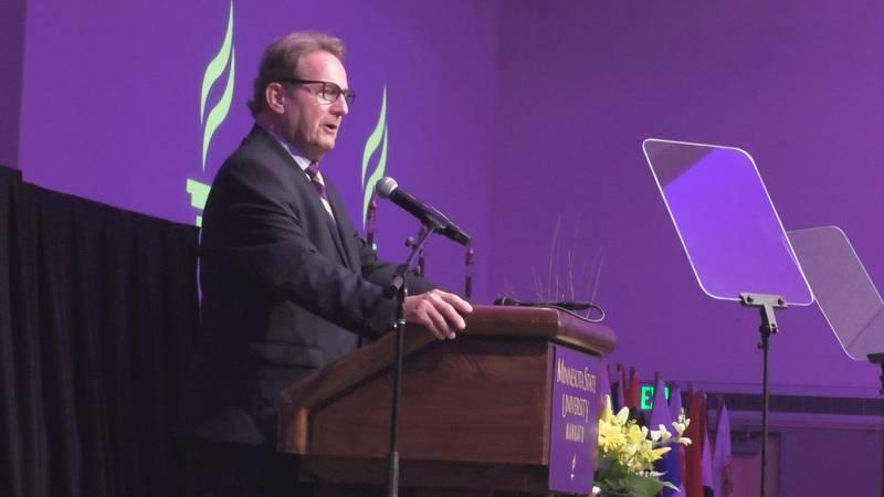 Minnesota State University, Mankato President Richard Davenport says the university is asking...