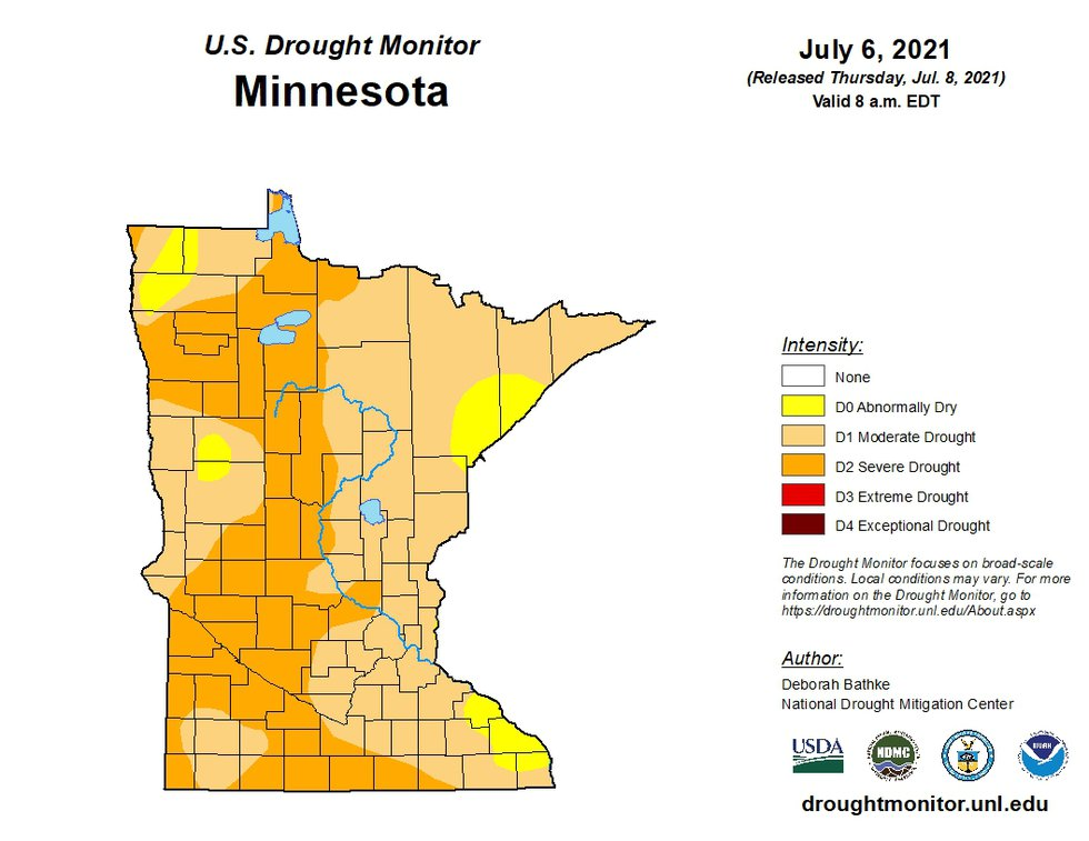 This Minnesota map shows and classifies the drought level in Minnesota counties ...