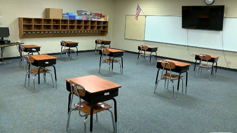Classroom with desks six feet apart to abide by the social distancing guidelines.