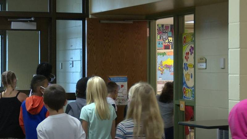 Students walk into art class at Rosa Parks Elementary.