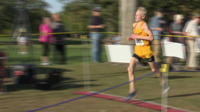 Mankato East's Isaiah Anderson finishes in first in the boys race.