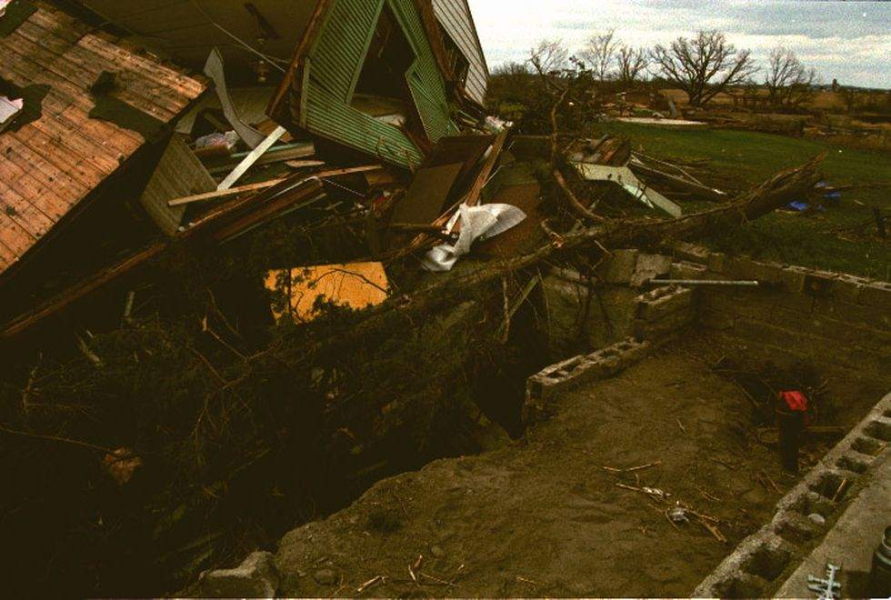 Tornado damage in Albany, MN associated with the October 26th, 1996 outbreak.