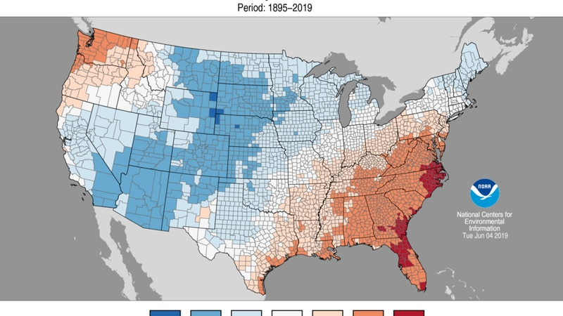 The southeast and eastern parts of the state saw much above average, to record breaking warmth...