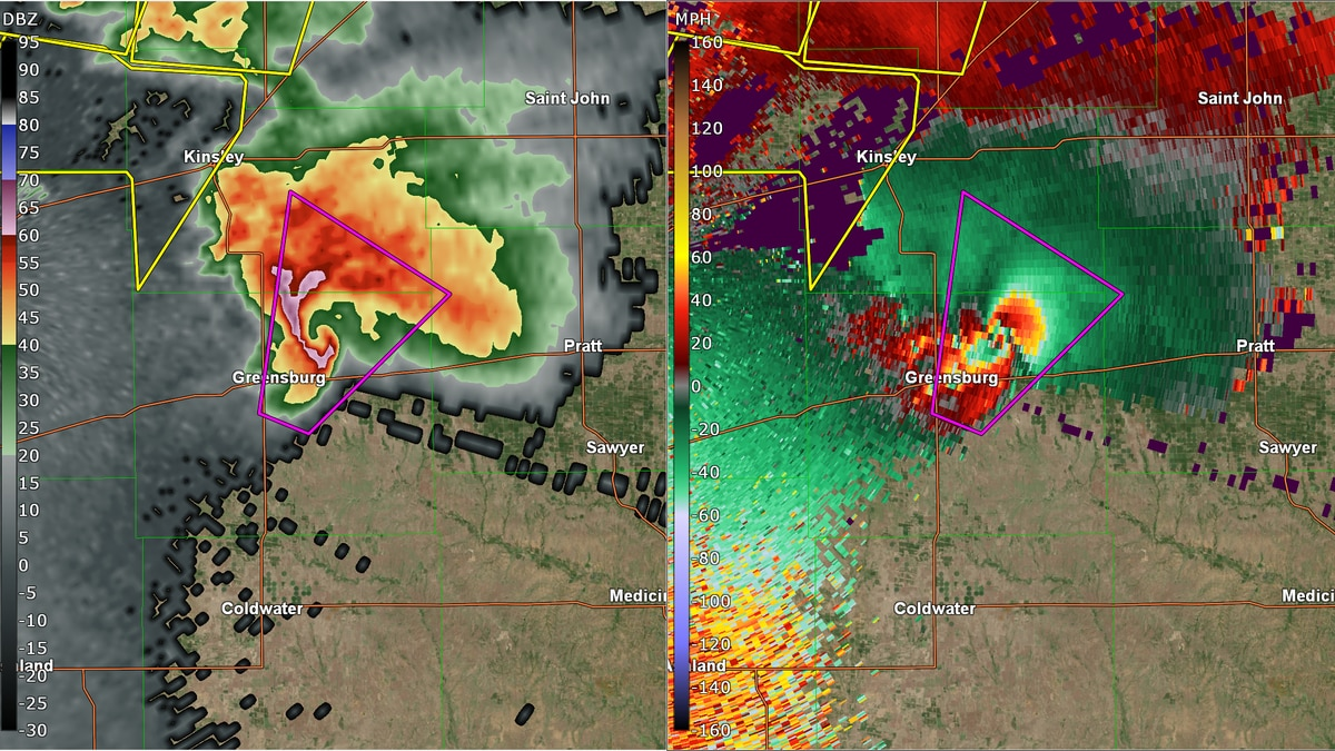 Radar imagery of the EF5 tornado that stuck 13 years ago changing the lives of many in the...