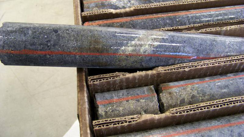 FILE - In this Oct. 4, 2011, file photo, a core sample drilled from underground rock near Ely,...
