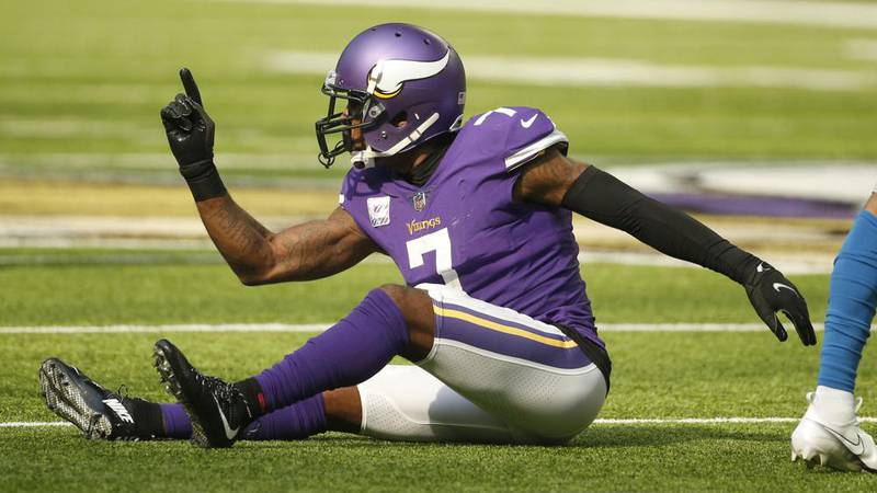 Minnesota Vikings cornerback Patrick Peterson (7) reacts after breaking up a pass during the...