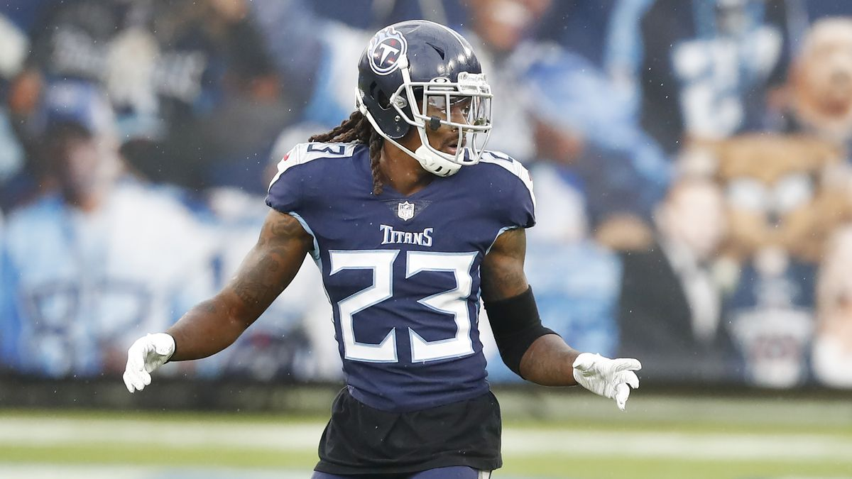 Tennessee Titans cornerback Tye Smith plays against the Houston Texans in the first half of an...