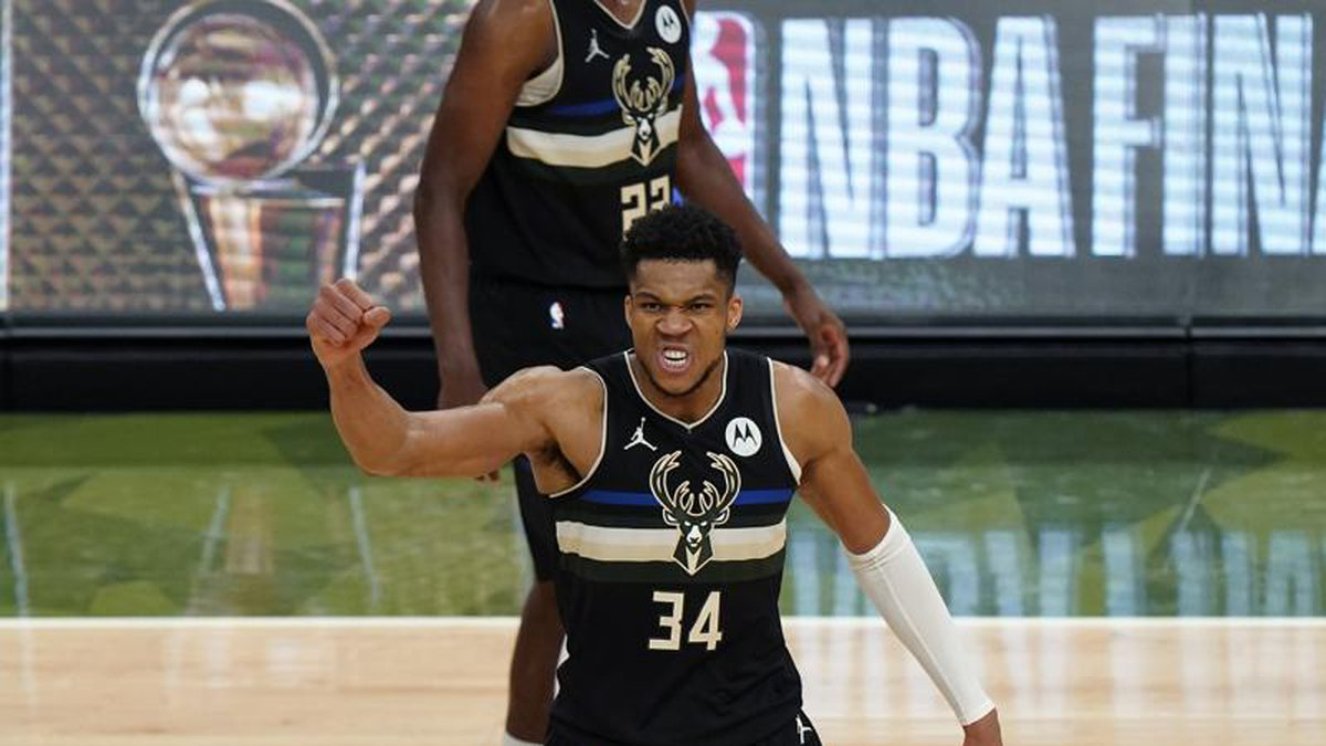 Milwaukee Bucks forward Giannis Antetokounmpo (34) reacts during the second half of Game 6 of...
