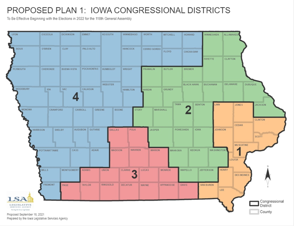 Proposed Iowa Congressional redistricting map.