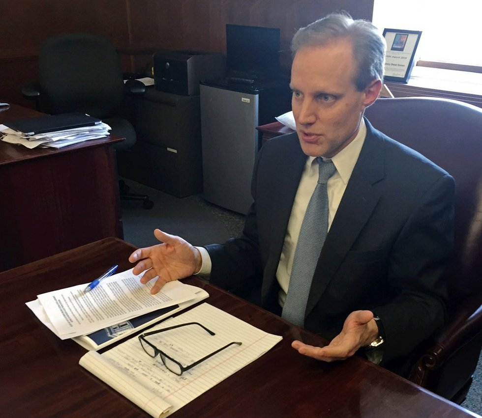FILE — In this March 16, 2018 file photo, Minnesota Secretary of State Steve Simon discusses...