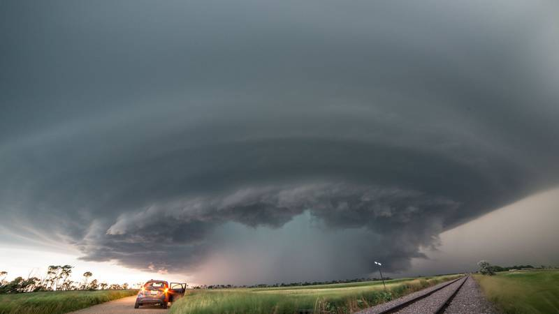 Severe warned storm near Carrington, ND, July 9th, 2016. This storm produced baseball size hail...