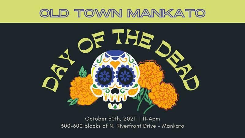 Flyer for the Dia de los Muertos event taking place in Mankato, Minn.