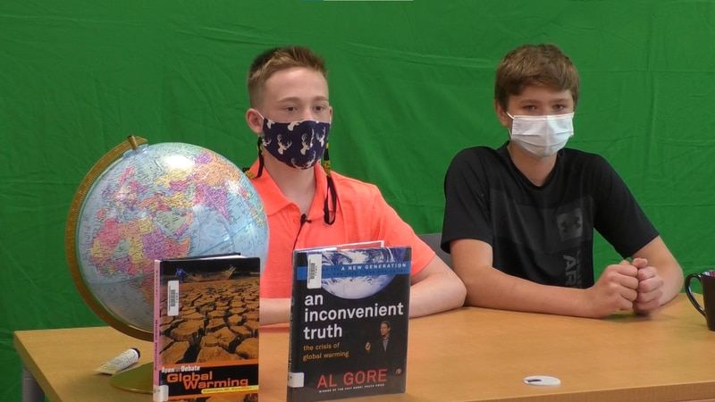 Students at Prairie Winds Middle School conduct news broadcast for a class project in Mankato,...