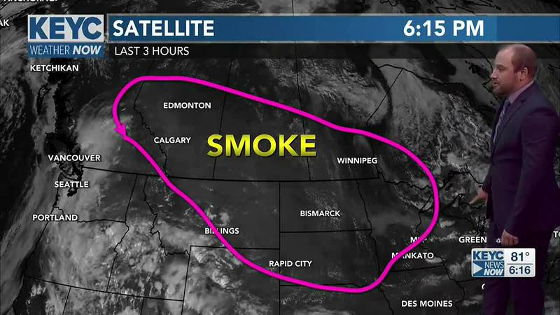 Smoke is showing up on satellite imagery this evening. Smoke continues to move into Minnesota...
