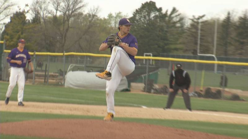 Minnesota State pitcher Cam Kline was awarded the victory in the Mavericks' 7-3 victory against...