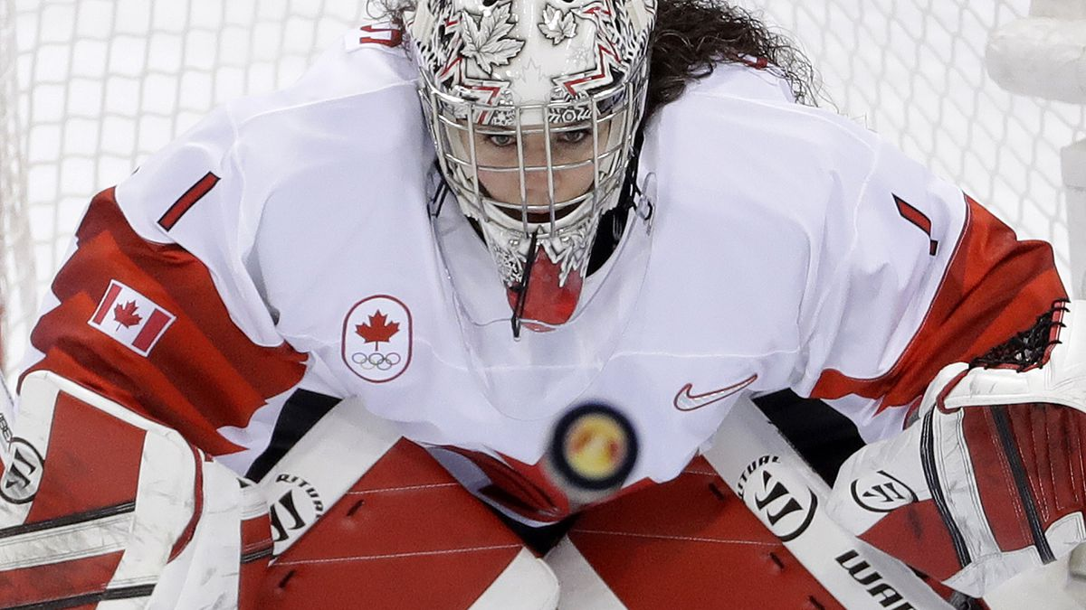 FILE — In this Thursday, Feb. 22, 2018 file photo, goalie Shannon Szabados (1), of Canada,...