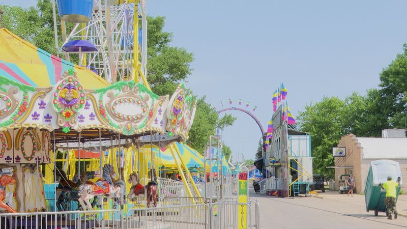 Carnival rides are pictured during the Hay Daze celebration Thursday, June 17, 2021, in...
