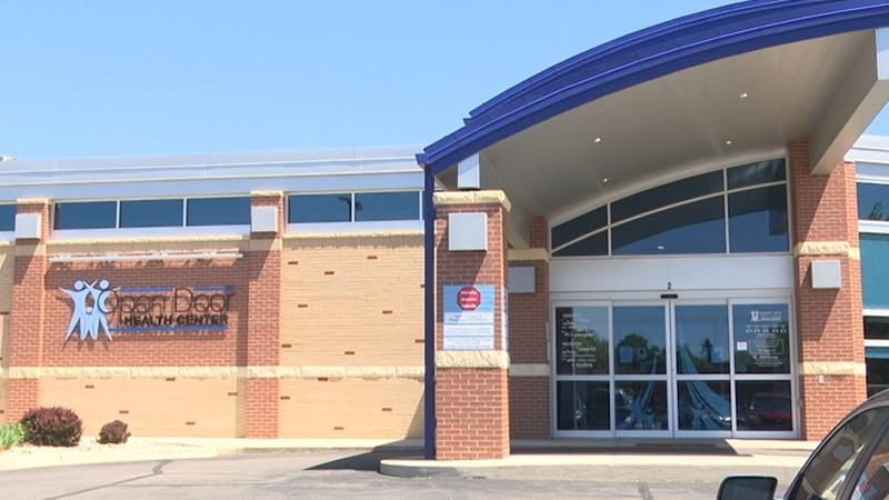 The main entrance to the Open Door Health Center is pictured Wednesday, May 26, 2021, in...