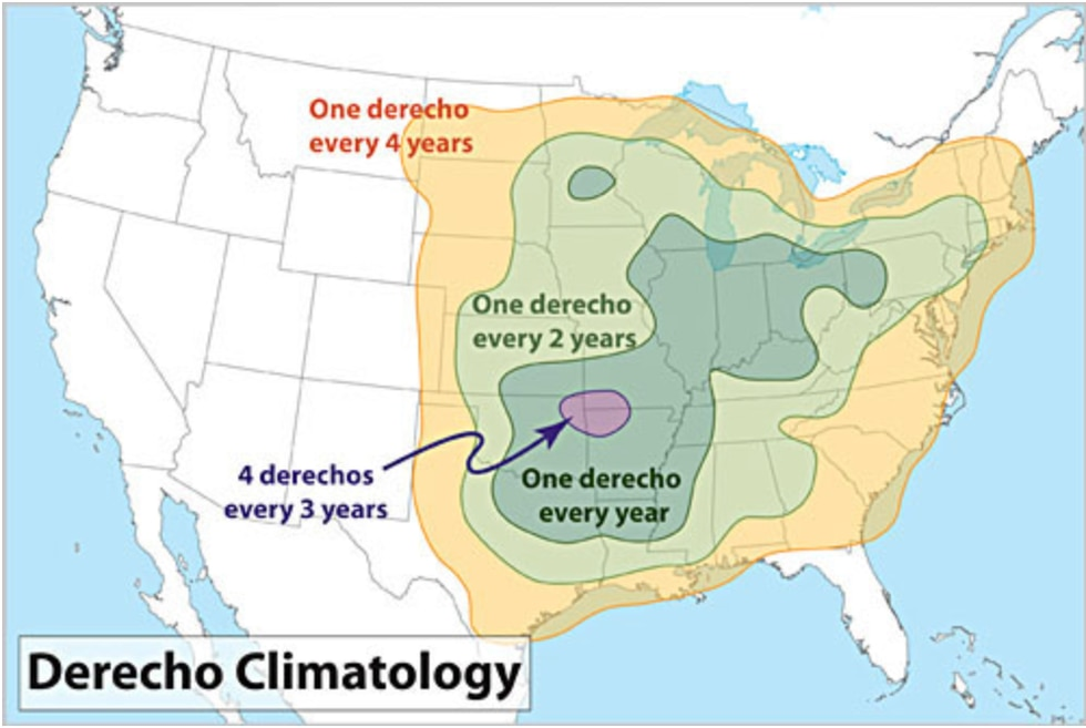 Derecho events are rare but most commonly occur in two locations. One along the Corn Belt from...