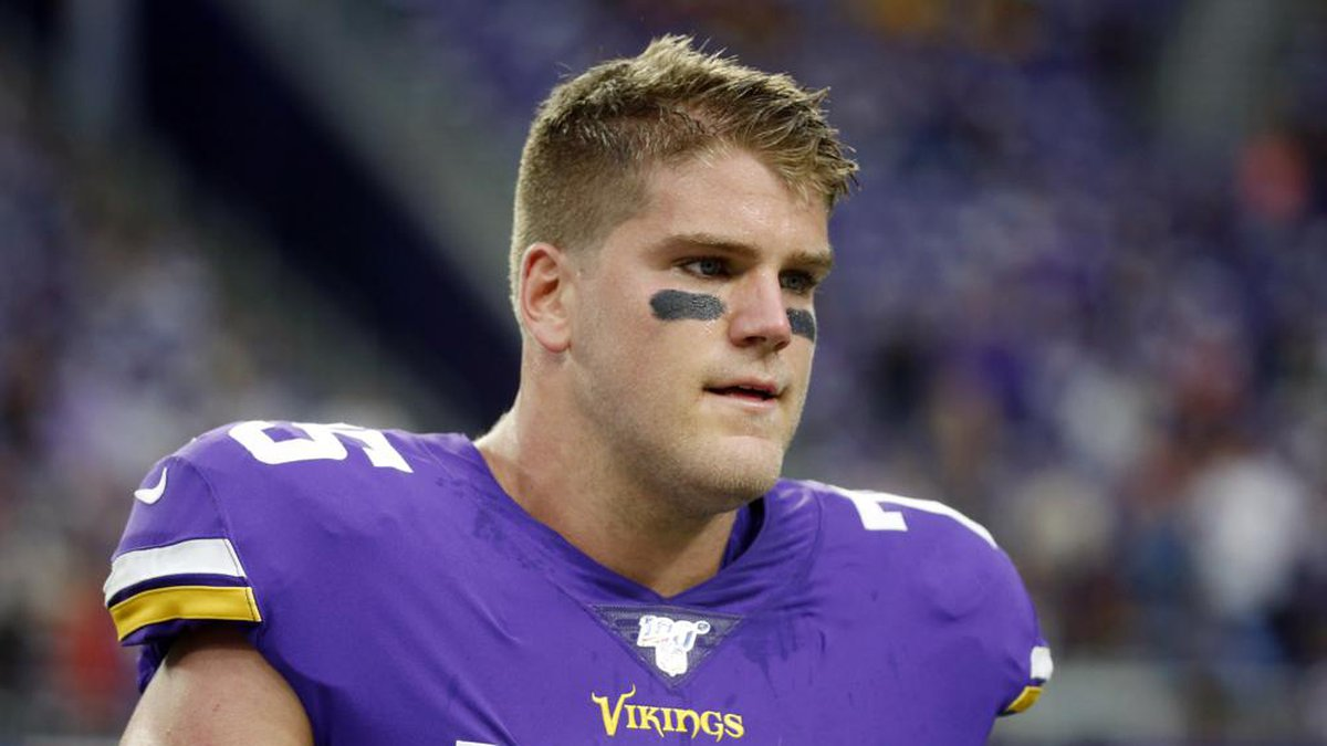 FILE - In this Sept. 8, 2019, file photo, Minnesota Vikings offensive tackle Brian O'Neill...