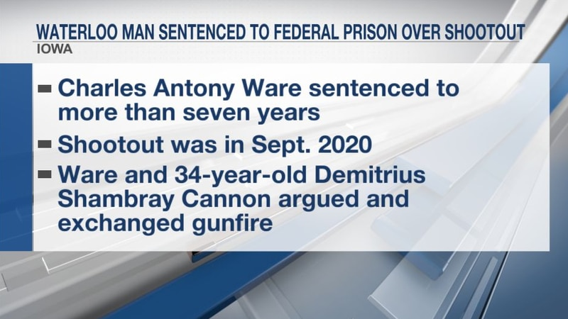 Waterloo man sentenced to federal prison over shootout