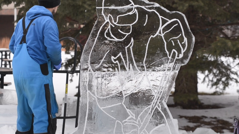 Ice sculptors carved away at 5,400 pounds of ice ahead of this weekend's SnowDazzle on the Plaza.