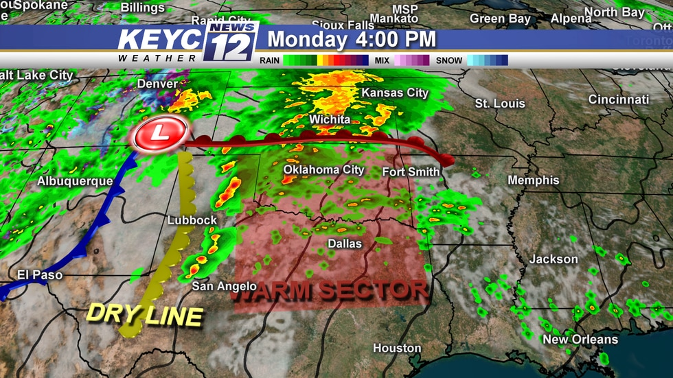 Storms will continue along the warm front as the day progresses. Other areas to watch are along...