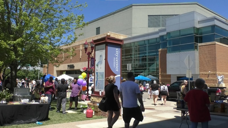 Hundreds gather at the Intergovernmental Center in downtown Mankato to celebrate Juneteenth