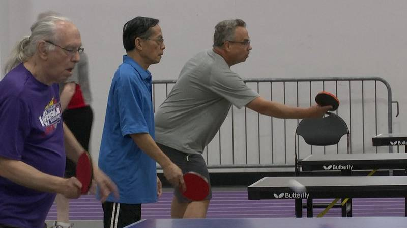 Participants compete in table tennis at the 2021 Minnesota's Senior Games Thursday, Aug. 12,...