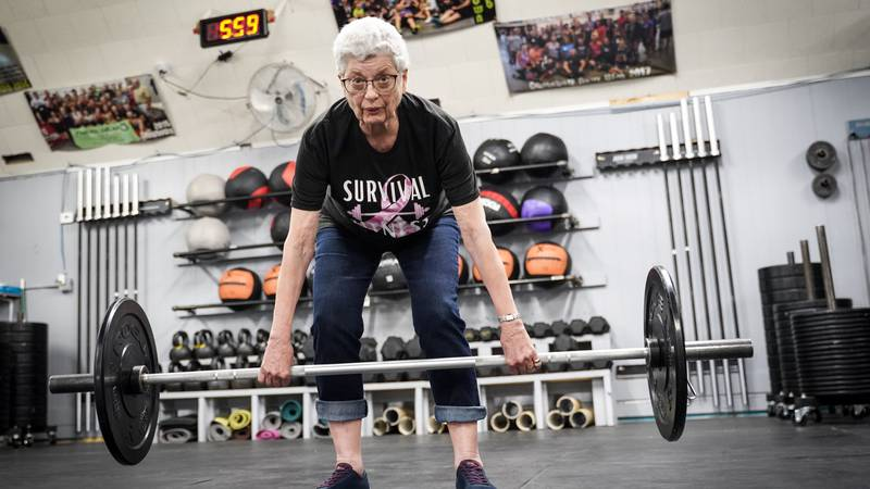 Cleo Bohne completes a set of power clean lifts, Wednesday, April 21, 2021, at New Ulm CrossFit.