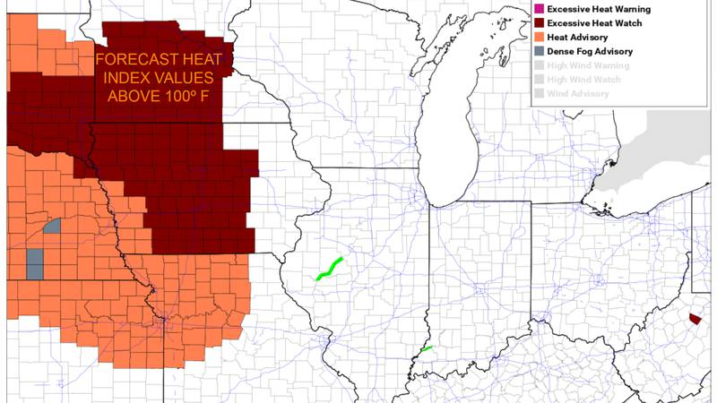 Excessive heat watch is in place for southern Minnesota and northern Iowa starting Tuesday...