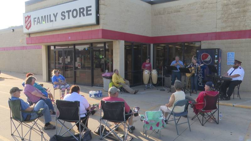Members of a congregation gather Wednesday, July 7, 2021, at the Mankato Salvation Army Thrift...