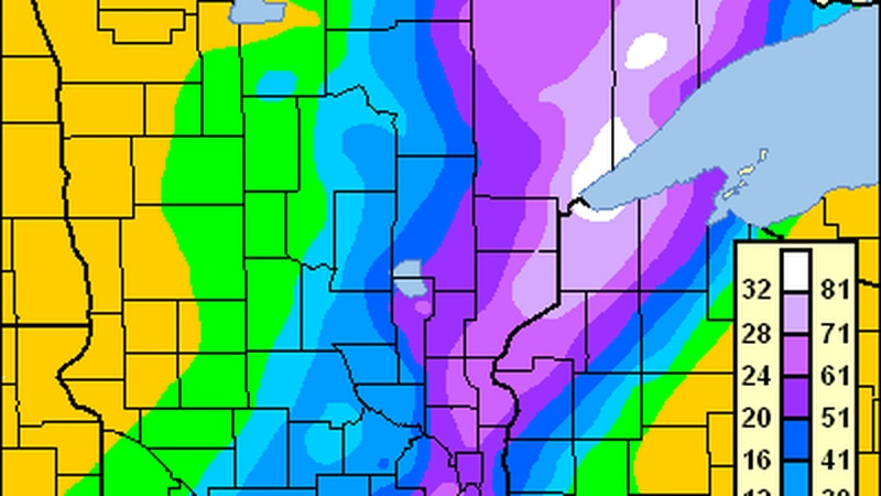 Snowfall totals across the state of Minnesota from the Halloween Blizzard of 1991.
