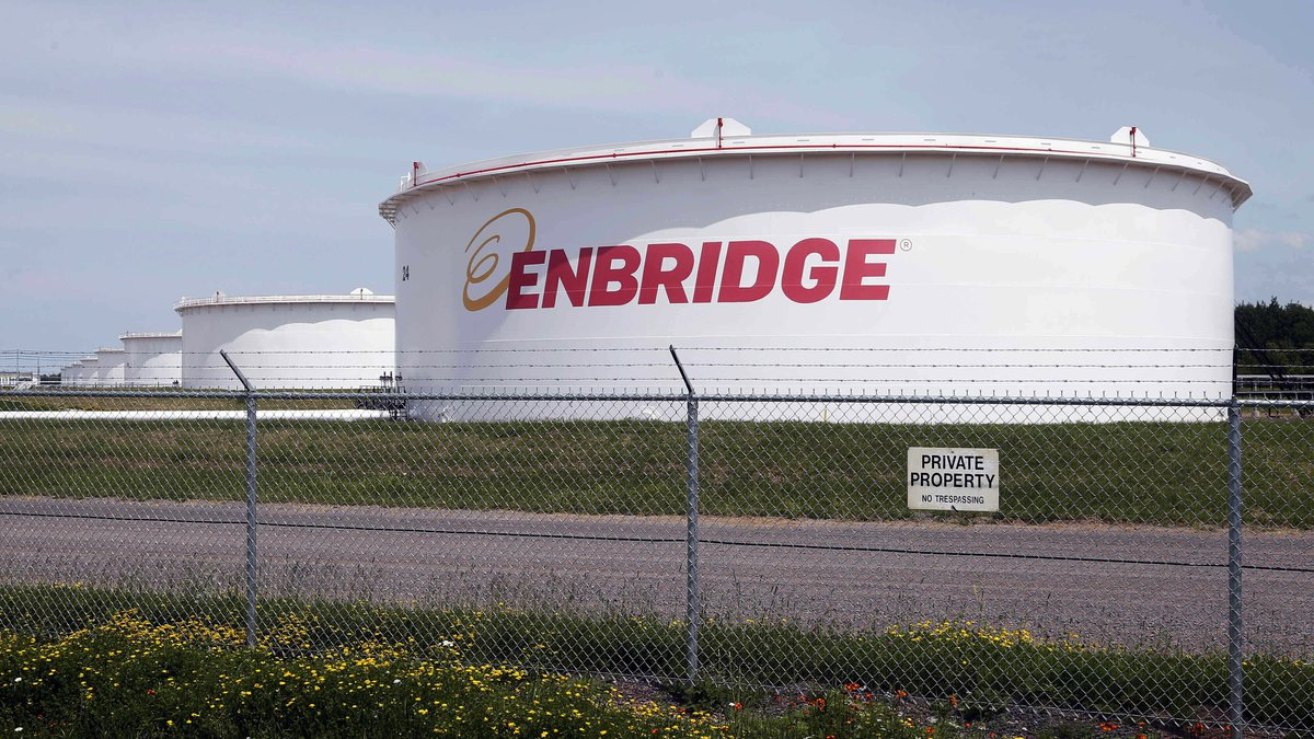FILE - This June 29, 2018 file photo shows tanks at the Enbridge Energy terminal in Superior,...