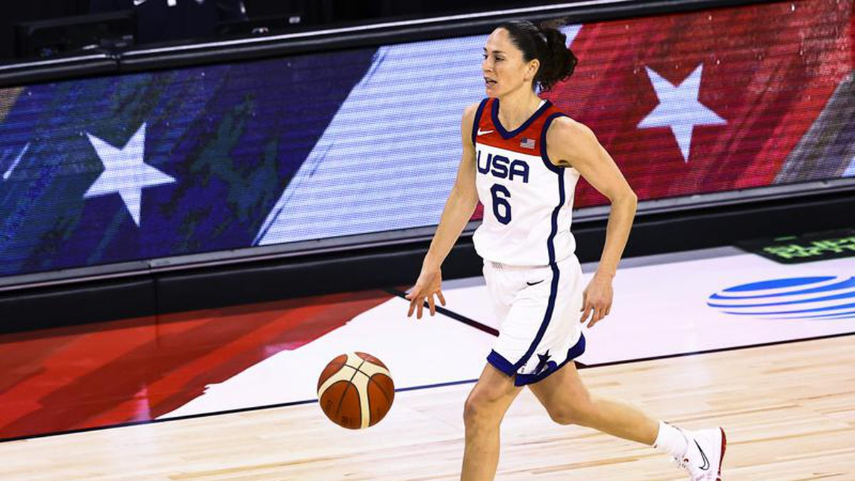 U.S. guard Sue Bird brings the ball up during the first half of the team's pre-Olympic...