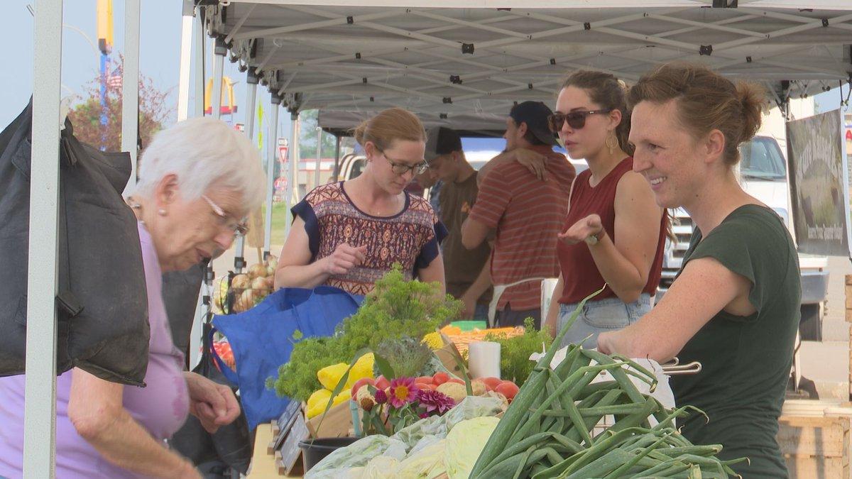 Customers browse the Mankato Farmers Market Tuesday, Aug. 3, 2021, in Mankato, Minn.