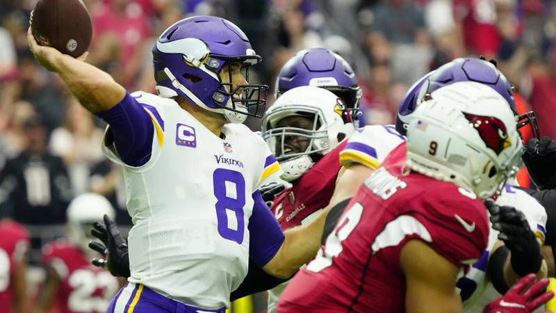 Minnesota Vikings quarterback Kirk Cousins (8) throws against the Arizona Cardinals during the...