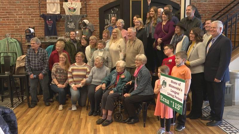Family and friends gathered at Sleepy Eye Coffee Co. in Sleepy Eye, Minn., Wednesday, April 14,...