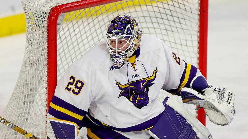 Minnesota State goalie Dryden McKay skates against Bowling Green during an NCAA hockey game on...