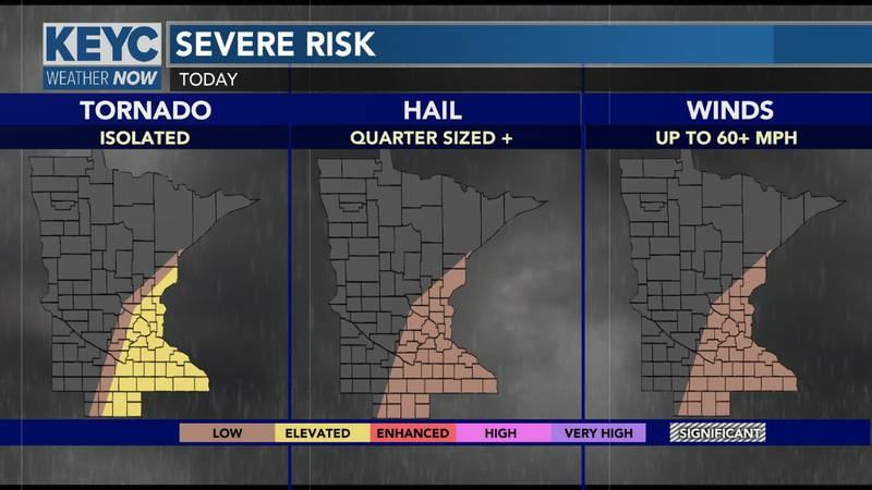 Main threat for today's severe weather will be for a tornado or two, gusty winds, and localized...