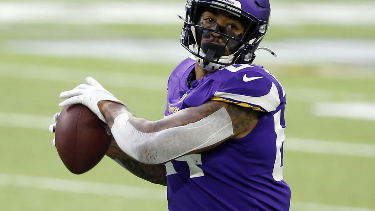 FILE - In this Oct. 18, 2020, file photo, Minnesota Vikings tight end Irv Smith Jr. catches a...