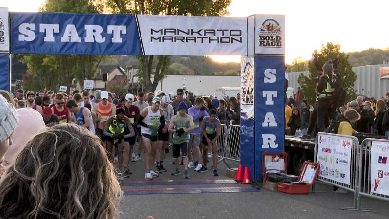 Runners line up at the starting line of the 2021 Mankato Marathon on Saturday, Oct. 16, 2021,...