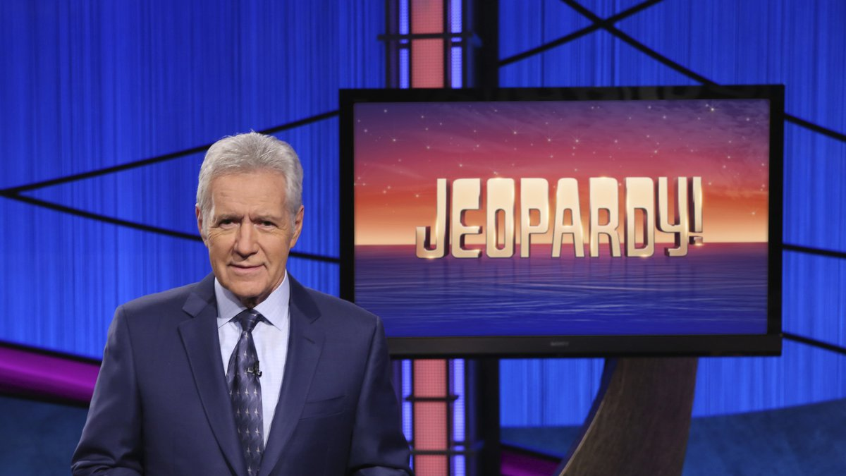 """This image released by Jeopardy! shows Alex Trebek, host of the game show """"Jeopardy!""""  Filling..."""