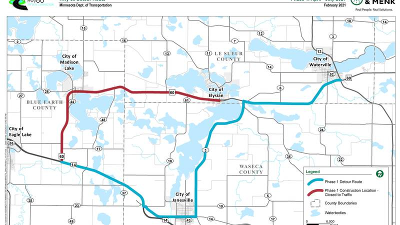 Modified Detour Route for Highway 60