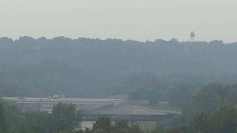 Smoke from Canadian wildfires blanket Mankato, Minnesota.