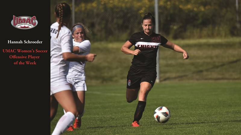 Hannah Schroeder was named the UMAC Women's Soccer Offensive Player of the Week on Monday.
